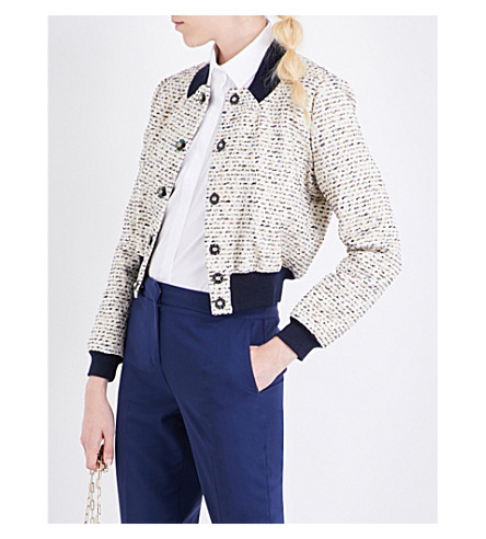MARY KATRANTZOU Tweed bomber jacket (Gold