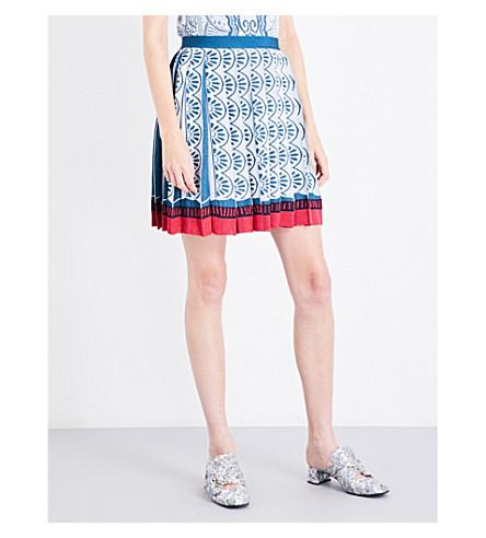 MARY KATRANTZOU Playing card-jacquard high-rise skirt (Silver/teal