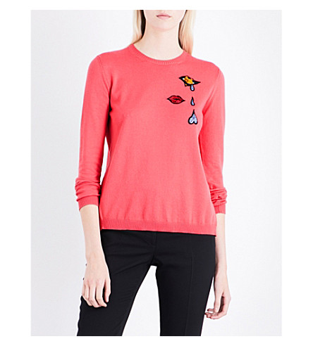MARY KATRANTZOU Rummy bead-embellished knitted jumper (Coral