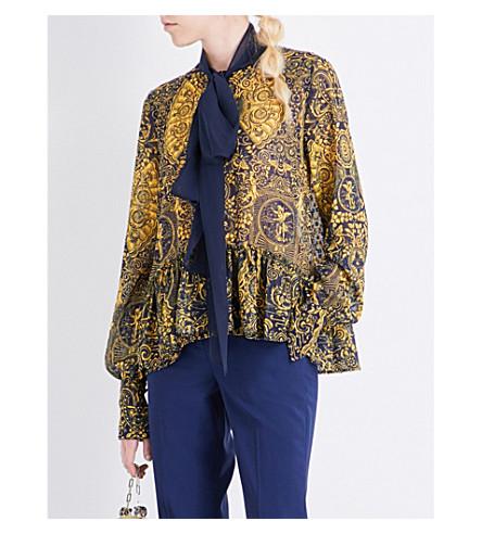 MARY KATRANTZOU Transcendence chiffon blouse (Back+of+card+gold