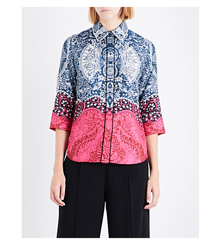 MARY KATRANTZOU Rita cotton-poplin shirt (Dragon+fuxia