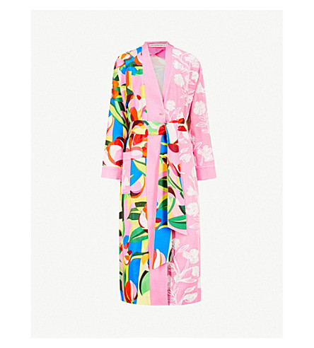 MARY KATRANTZOU Merlin contrast-patterned woven coat (Cubism flowers