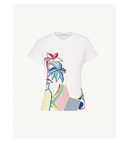 MARY KATRANTZOU 花卉刺绣平纹针织棉 T 恤 (Pop + 艺术