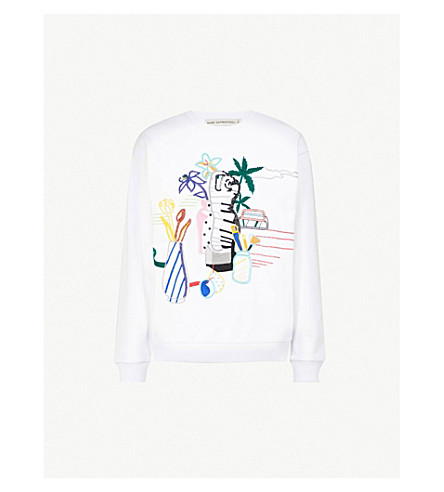 MARY KATRANTZOU Pop-art embroidered cotton-jersey sweatshirt (Pop+art