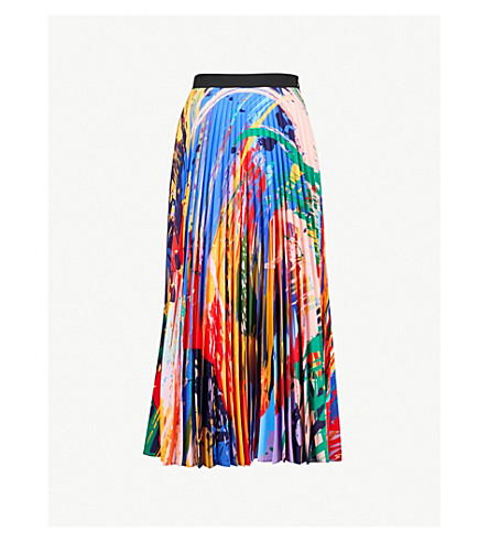 MARY KATRANTZOU Uni pleated satin midi skirt (Paint splash