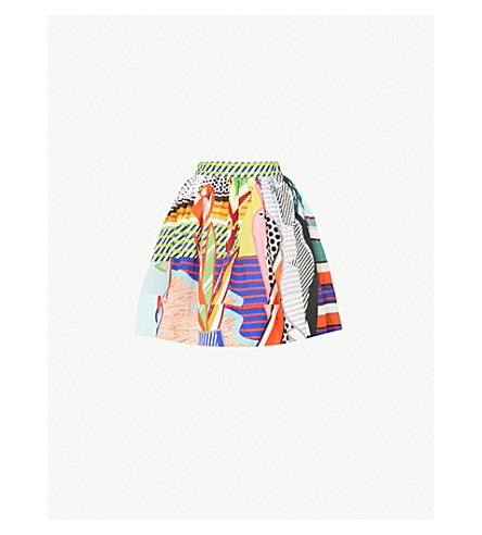 MARY KATRANTZOU Puffed pop art-print seersucker mini skirt (Pop+art