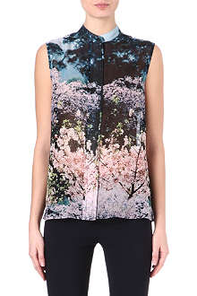 MARY KATRANTZOU Aria-print sleeveless silk blouse