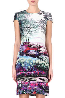 MARY KATRANTZOU Fitted capped-sleeve silk dress