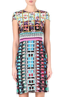 MARY KATRANTZOU Fitted dual-print silk dress