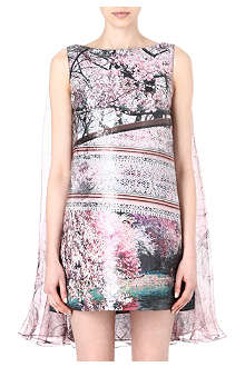 MARY KATRANTZOU Blossom print cape dress