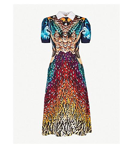 MARY KATRANTZOU Osprey feather-print silk dress (Rainbow feathers