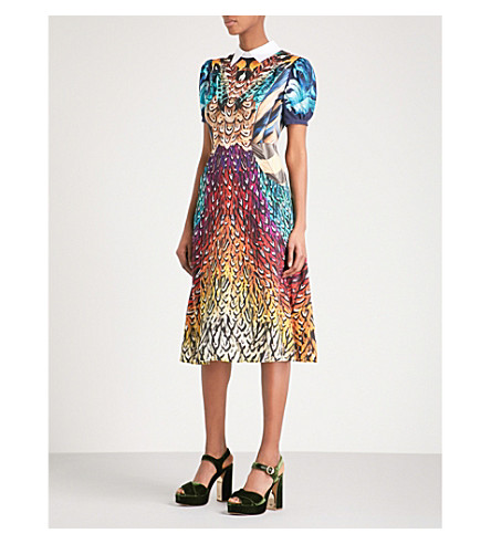 MARY KATRANTZOU Osprey feather-print silk dress (Rainbow+feathers