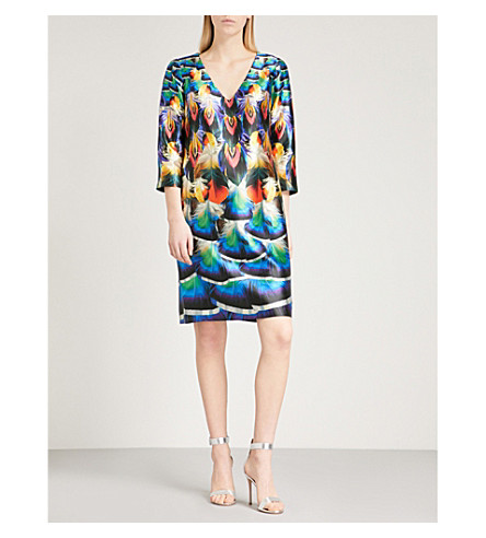 MARY KATRANTZOU Shea V-neck silk dress (Peacock+feathers