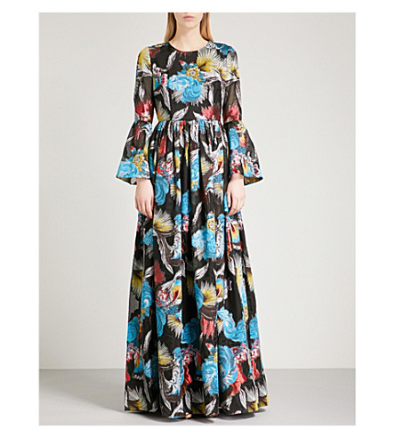 MARY KATRANTZOU Wren fit-and-flare jacquard gown (Black