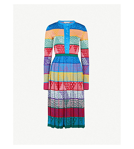 MARY KATRANTZOU Cecile fit-and-flare silk dress (Patchwork stripe