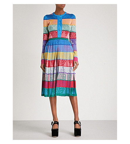 MARY KATRANTZOU Cecile fit-and-flare silk dress (Patchwork+stripe