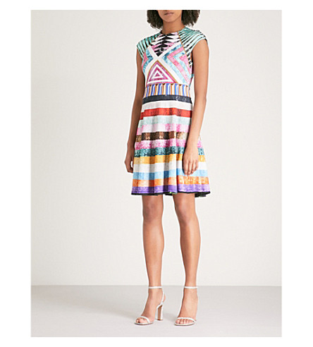 MARY KATRANTZOU Pinto fit-and-flare stretch-jersey mini dress (Patchwork