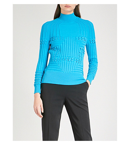 MARY KATRANTZOU Hardy turtleneck knitted jumper (Turquoise