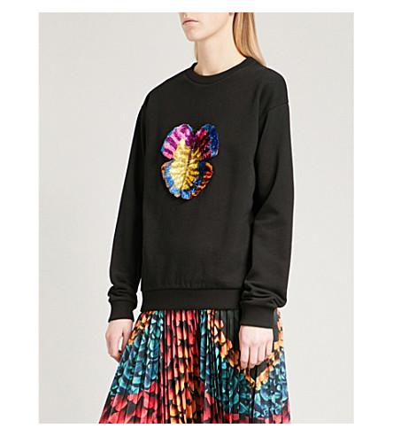 MARY KATRANTZOU Saker embroidered cotton-jersey jumper (Black