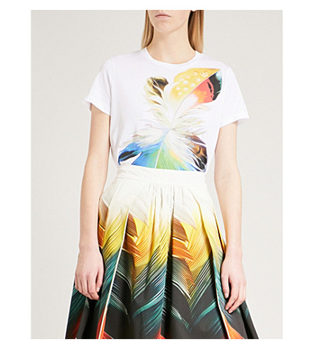 MARY KATRANTZOU Iven cotton-jersey T-shirt (Flight+feather+white