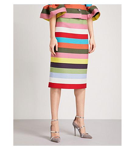 MARY KATRANTZOU Cuckoo high-rise wool-blend skirt (Multi