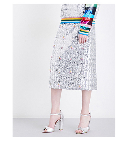 MARY KATRANTZOU Sigma sequinned skirt (Silver
