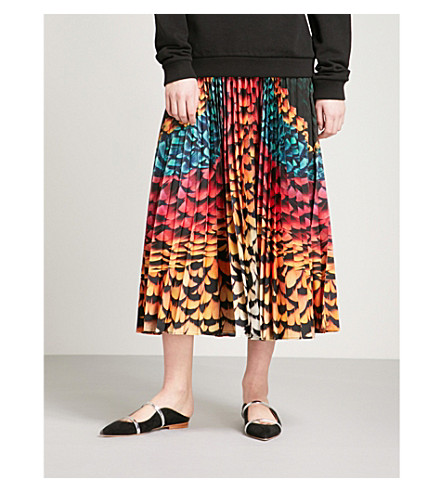MARY KATRANTZOU Uni silk-blend midi skirt (Rainbow+feathers