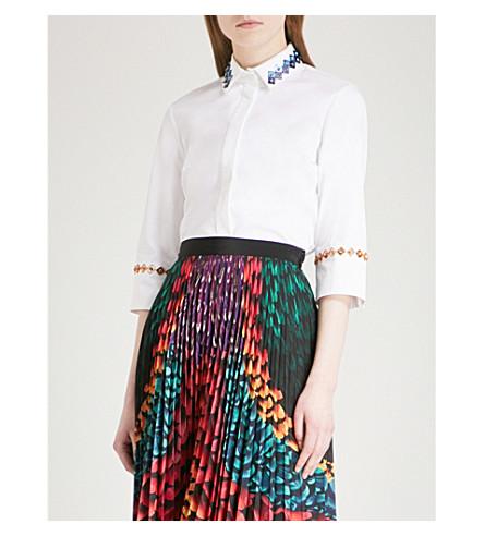 MARY KATRANTZOU Rita embellished stretch-cotton shirt (White