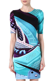 MARY KATRANTZOU Trainer print silk dress