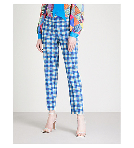 MARY KATRANTZOU Amra tapered mid-rise cotton-blend trousers (Gingham+blue