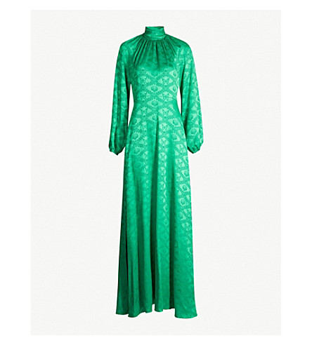 MARY KATRANTZOU Butterfly-jacquard flared gown (Malachite