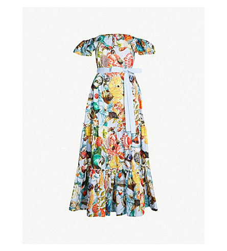 MARY KATRANTZOU Nata Dalia cotton-poplin dress (Blue shells