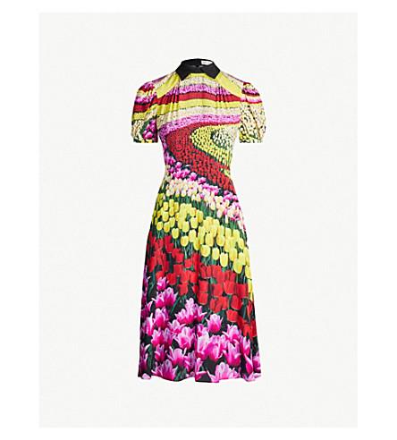 MARY KATRANTZOU Osprey tulip-print silk dress (Flower fields