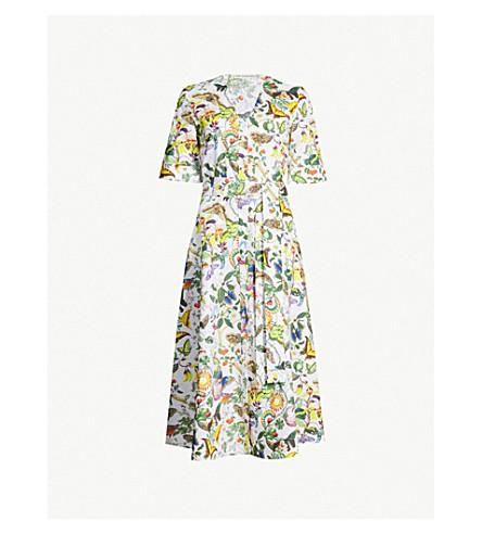 MARY KATRANTZOU V-neck cotton midi dress (White insects