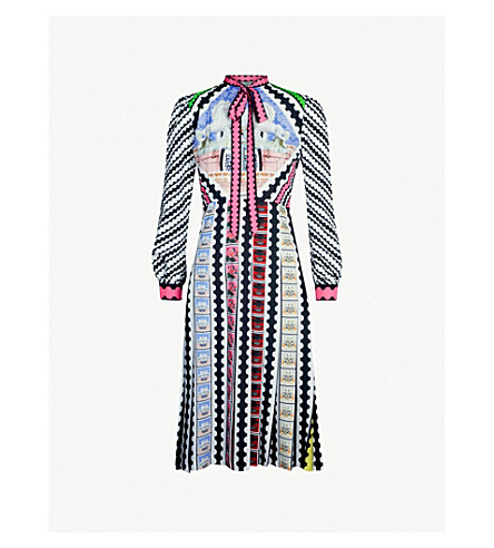 MARY KATRANTZOU Airmail printed crepe midi dress (Rainbow stamp