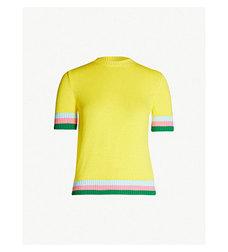 MARY KATRANTZOU Dua striped cotton jumper (Lemon