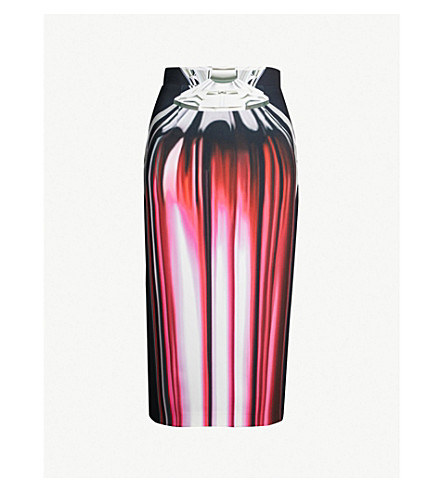 MARY KATRANTZOU Opium perfume bottle-print stretch-cotton pencil skirt (Pink+perfume