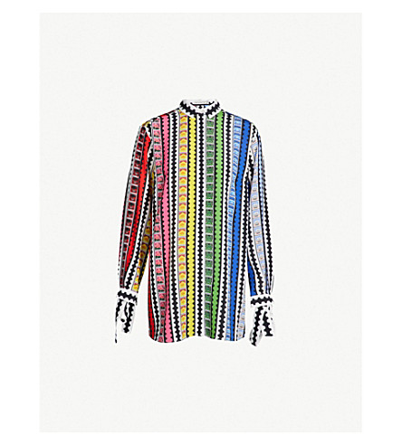 MARY KATRANTZOU Goya contrast stripes silk-crepe shirt (Rainbow+stamp