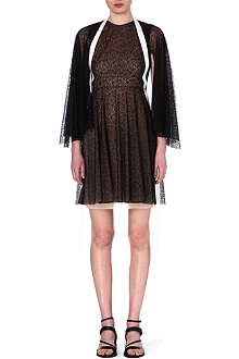 MARIOS SCHWAB Caped-sleeve lace-print dress