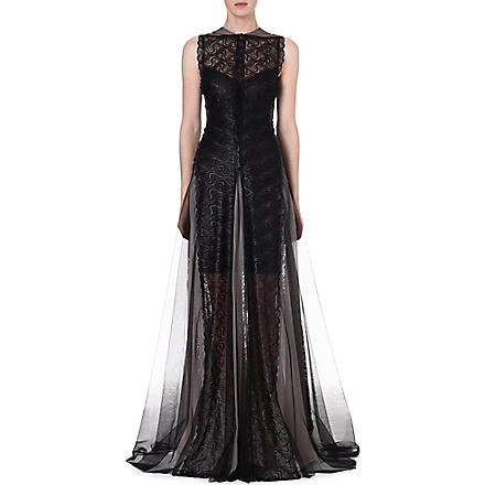 MARIOS SCHWAB Sleeveless lace gown (Black+++grey