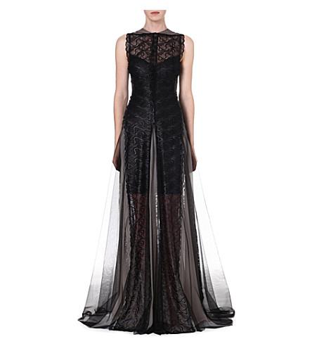 MARIOS SCHWAB Sleeveless lace gown (Black   grey