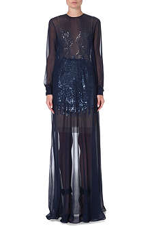 MARIOS SCHWAB Sequin-detailed sheer silk gown