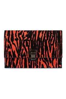 PROENZA SCHOULER Flock print striped leather clutch bag