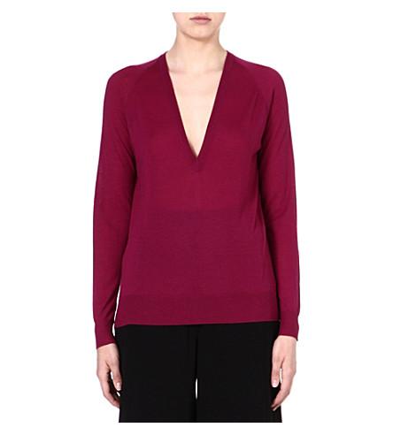 PROENZA SCHOULER V-neck merino wool jumper (Plum