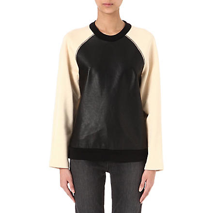 PROENZA SCHOULER Leather-panel sweatshirt (Peach/ black