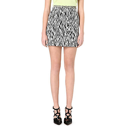 PROENZA SCHOULER Zig-zag tweed mini skirt (Black/ white