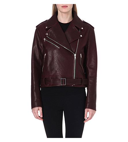 PROENZA SCHOULER Leather biker jacket (Aubergine