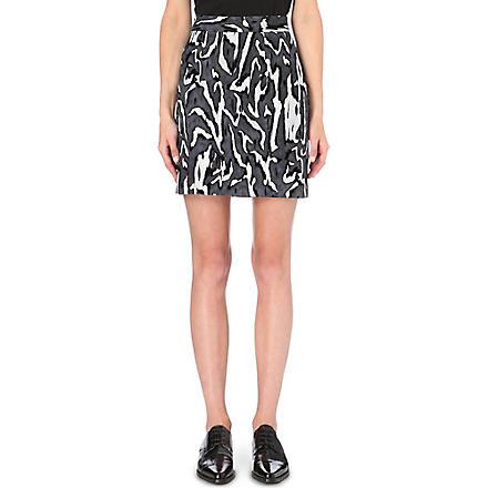 PROENZA SCHOULER Moiré flocked mini skirt (Grey/blk