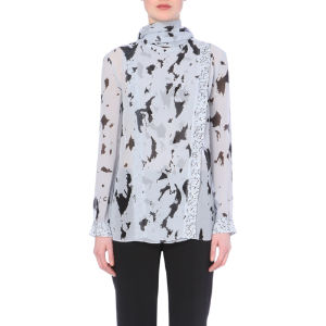 Abstract-print silk-chiffon top