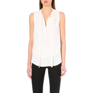 Tie-detail sleeveless crepe top